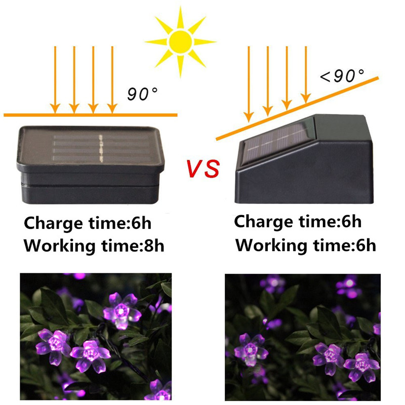 Lampu Solar LED String Lights 7M 50LED 22m 12m Dengan Cherry - Pencahayaan perayaan - Foto 4
