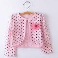 Liquidación de algodón de punto fino con floral niñas suéter cardigan de manga larga primavera verano embroma la capa de aire acondicionado