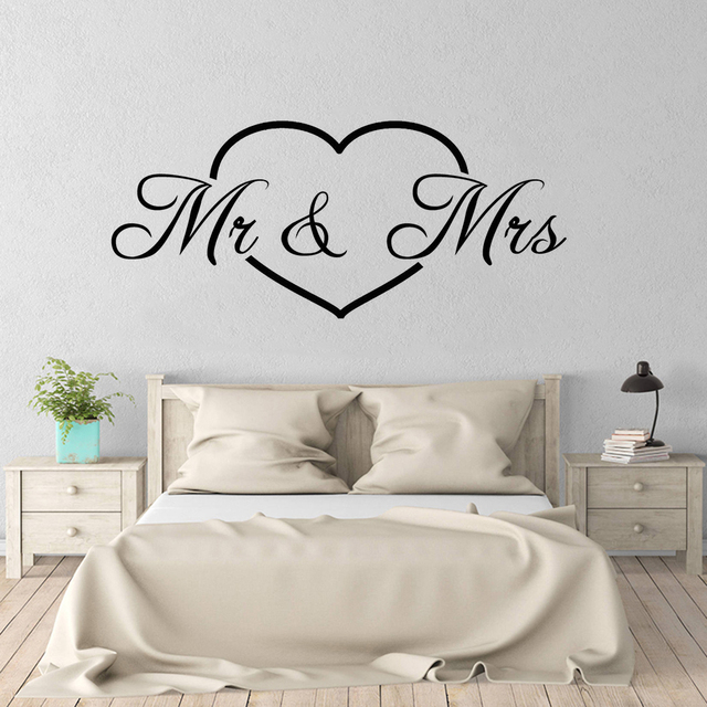 US $10.0 20% OFF|Mr Mrs Lover Vinyl Wall Decor Art Heart Sticker Mural  Romantic Wall Decal Bedroom Living room Home Decoration Art Poster W375-in  Wall ...