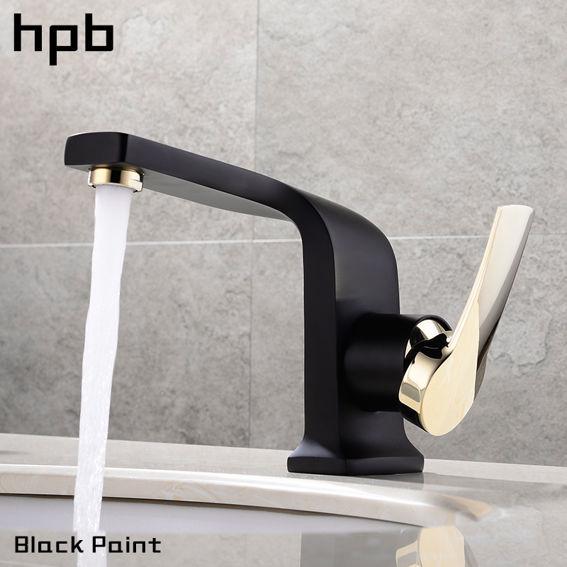 HPB Brass Bathroom Faucet Sink Mixer Basin Water Tap Oil Rubbed Chrome Finish Hot And Cold Deck Mounted hpb brass morden kitchen faucet mixer tap bathroom sink faucet deck mounted hot and cold faucet torneira de cozinha hp4008
