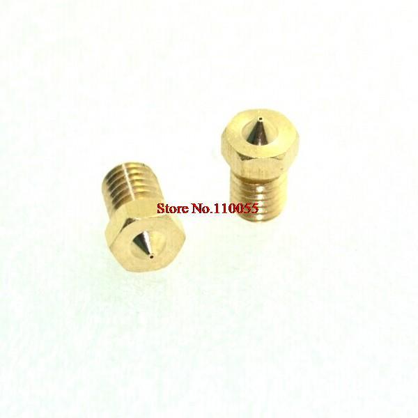 5 Stks/partij 3d Printer Accessoires Full Metal M6 Schroefdraad Nozzle 0.2mm/0.3mm/0.4mm/0.5mm Voor 1.75mm/3mm Filamnet