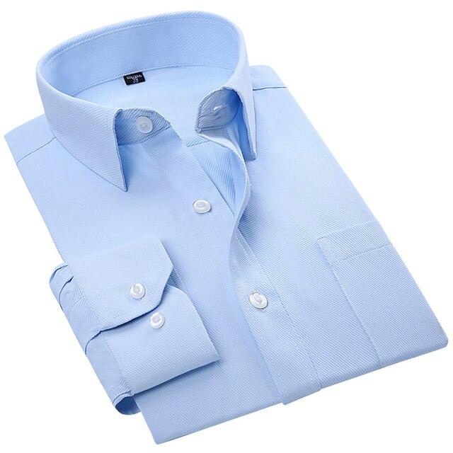 Падение 2016 мужской Деловой случай Рубашку Twill Синий Сплошной Цвет С Длинным Рукавом Классическая отложным Воротником Регулярный Fit мужчины Платье Рубашки