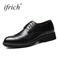 Ifrich Hot Sale Mens Leather Dress Shoes Lace Up Male Brogue Footwear Comfortable Mens Formal Shoes
