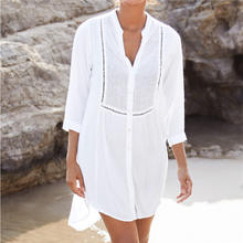 2019 Beach Cover up Cotton White Beach Sarong Bikini Cover up Bathing Suit Women Beachwear Swimsuit Cover up Pareo Tunic #Q833(China)