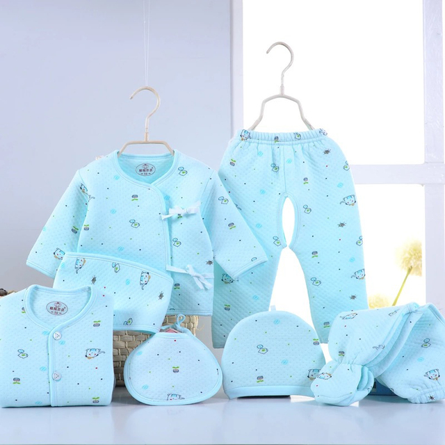 Newborn Baby 0-3M Clothing Set O-Neck Baby Blue  Boy/Girl Clothes 100% Cotton Cartoon Velour Full Fashion Solid Belt Kid clothes