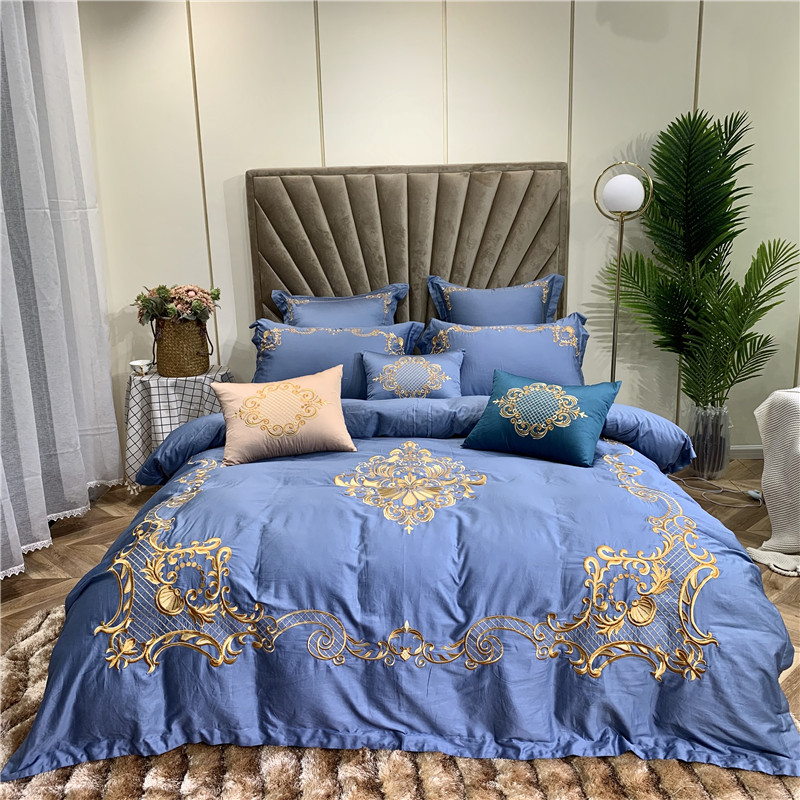 Blue Green Luxury European Palace 100S Egyptian Cotton Bedding Set Gold Royal Embroidery Duvet Cover Bed Sheet/Linen Pillowcases