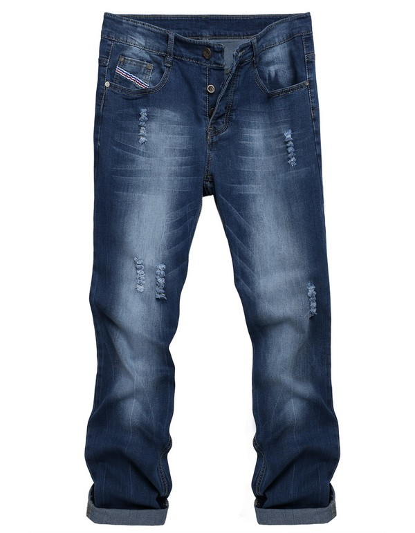 font b Men s b font Casual Denim font b Jeans b font Frayed Slim