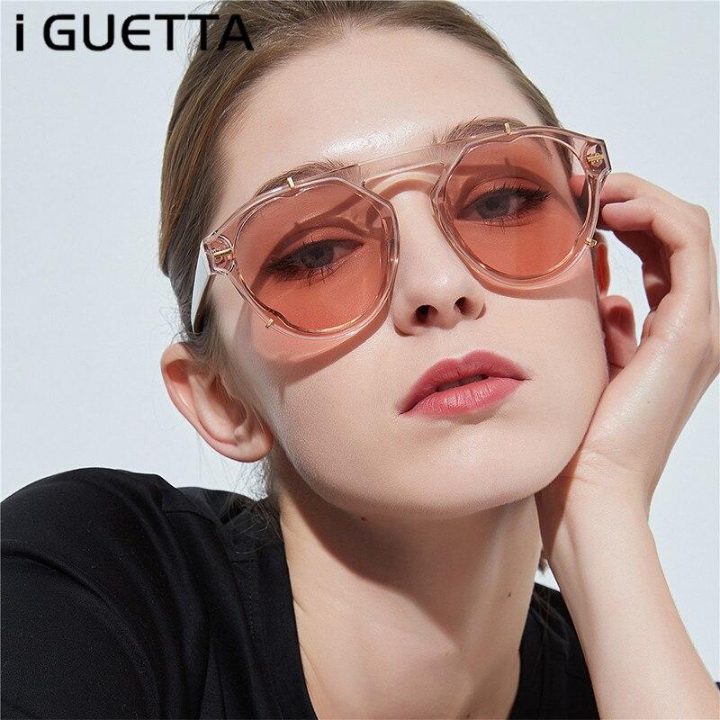 IGUETTA lunettes De soleil rondes Femmes Vintage Surdimensionné Version Coréenne Designer Ombre Pour Les Femmes Mode Femmes 2019 Oculos De Sol PU-066