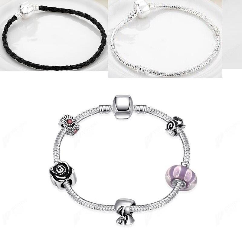 ⊹Venta caliente estilo europeo 925 pulsera de plata de cristal para ...