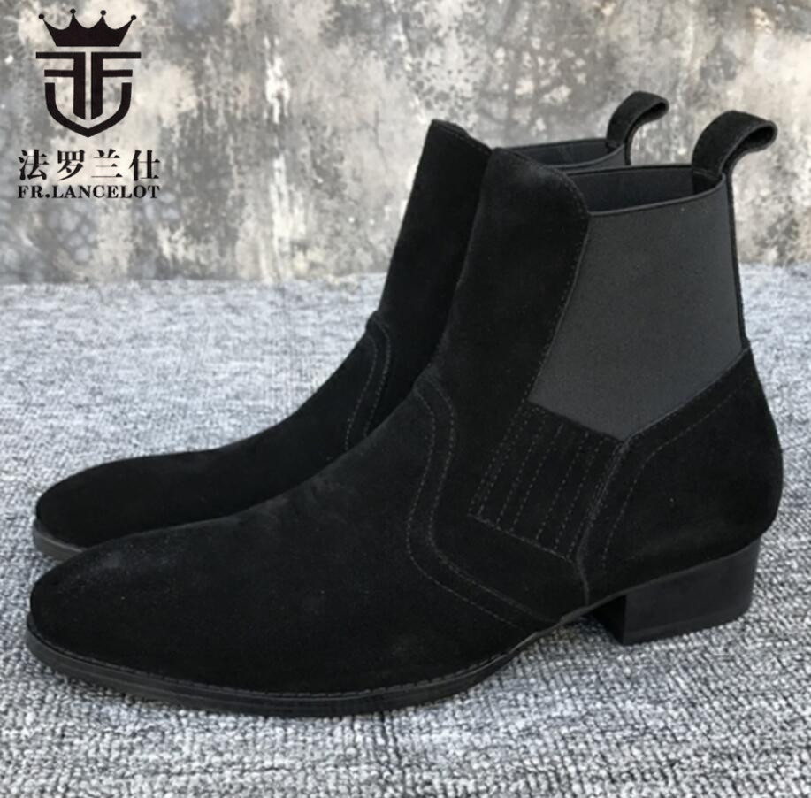 2018 FR.LANCELOT Brand men new design boots genuine leather short chelsea boots round toe slip on winter luxury shoes men 2018 fr lancelot new design winter men ankle boots genuine leather men short boots luxury brand men black men high chelsea boots