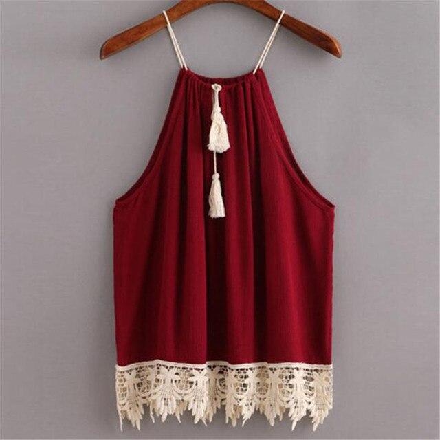 7aa44a25 Style Sexy Tops pour Femmes Camisoles d'été Pour Dames Rouge Spaghetti Strap  Dentelle Cami