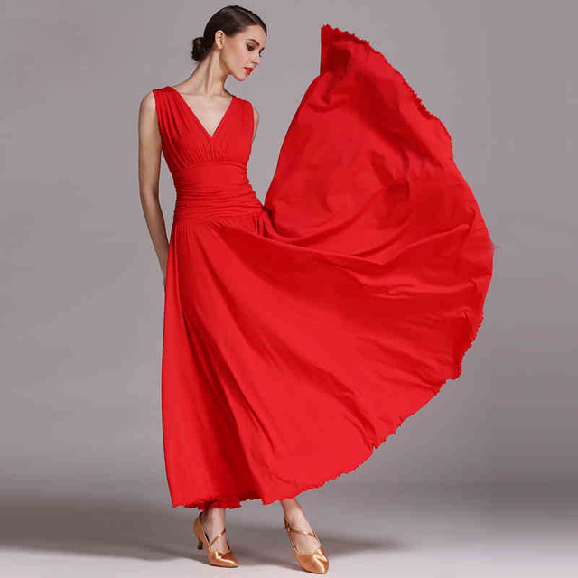 e77b075cd V-Neck Ballroom Competition Dance Dress New Simple Flamenco Waltz Dance  Costume High Quality Women Ballroom Dancing Dresses