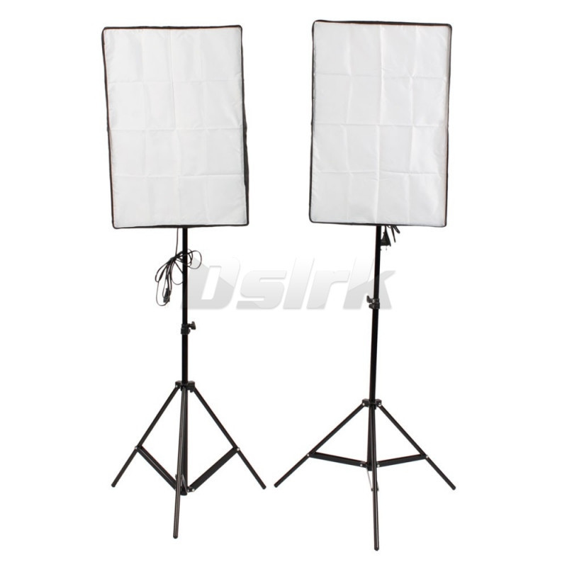 Photography Lights Flash Kit 2PCS reflective Material Softbox 2M Light Tripod Stand Single Lamp Holder For