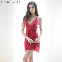 Trish Bella 2018 Lace transparent Camisole Extensible Mosaic Nightdress porn sexy lingerie underwear lenceria erotic porno