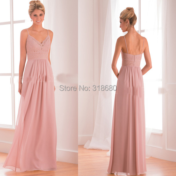 Top Quality V Neck Lace Y Bridesmaid Dresses Misty Pink Chiffon S