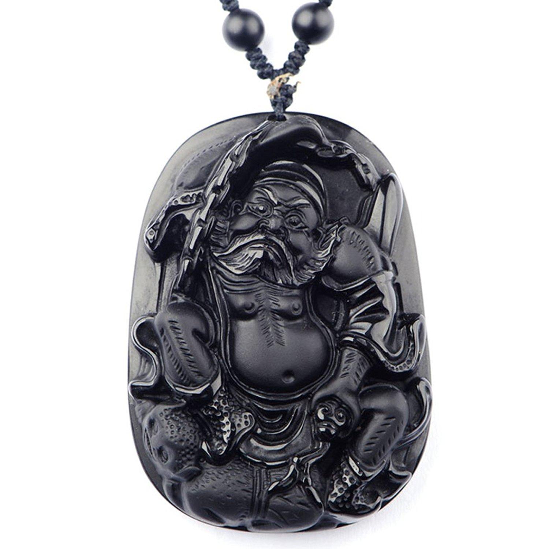 Koraba Fine Jewelry Природные обсидиана ZhongKui Экзорцизм держать нас безопасный амулет кулон Цепочки и ожерелья Бесплатная доставка