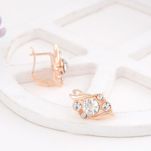 Woman's Birthday Gift Wedding Jewelry Set Fashion Gold Plated Crystal Necklace Ring Earring 3 pcs/set