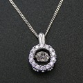 Fine Necklace 100% 925 Sterling Silver Dancing CZ Crystal  Pendant Necklace Women Jewelry with Chain