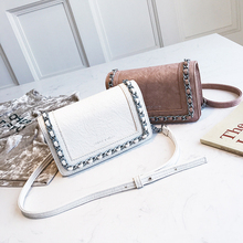 High Quality Personality Chain Small Square Bag 2018 New Fashion Simple Shoulder Bag Casual Wild Messenger Bag Female