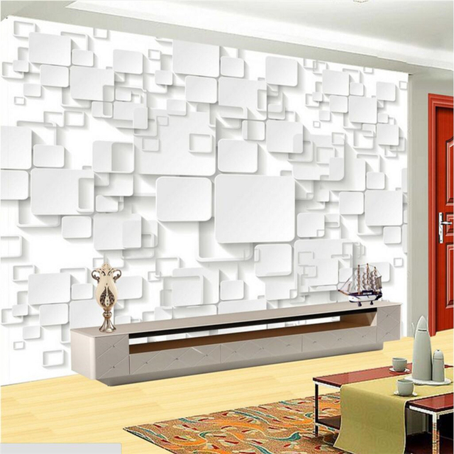US $9 3 38% OFF|beibehang papel de parede Custom Wallpaper 3D Fresco Wall  Sticker is now a simple box TV backdrop wall paper roll living room-in