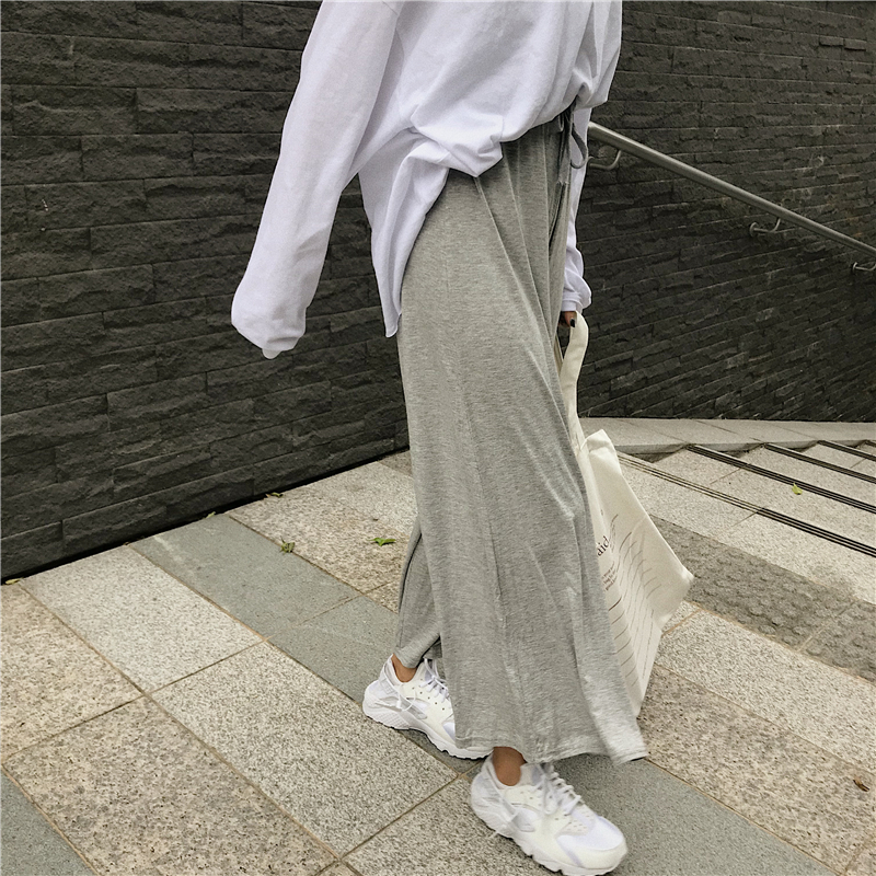 2 colors   Wide     Leg     Pants   Women solid colorLoose Trousers Women 2018 Grey High Waist casual model   pants   womens (L397)