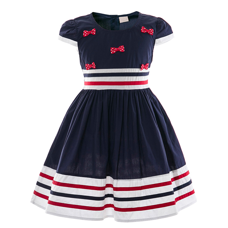 Girls Dress Preppy Style Striped Children Dresses Cotton Kids Bow Dress Baby Casual School Frocks Summer Girl Clothing summer seaside girls dresses children korean style clothing big girl casual striped costume kids cotton clothes junior vestidos