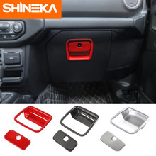 Shineka molduras interiores abs carro co-piloto caixa de armazenamento alça decorativa capa adesivos para jeep wrangler jl 2018 + acessórios