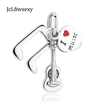 Jclowsexy Authentic 925 Sterling Silver Bead Charms I Love Music Guitar Heart Pendant Beads Fit Bracelets