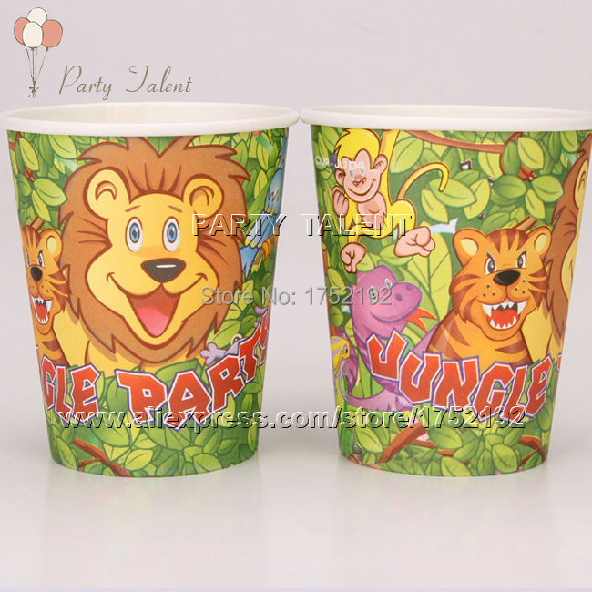 Free shipping 20PCS <font><b>birthday</b></font> theme party decoration disposable tableware paper <font><b>cups</b></font> <font><b>jungle</b></font> cartoon pattern