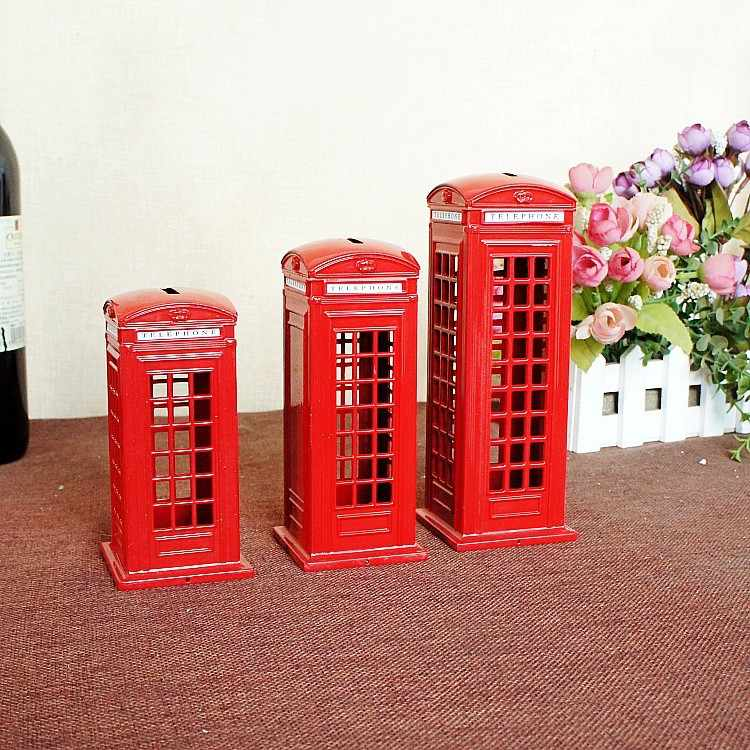 Newfangled Savings Cans European London Iron Vintage Spray Paint Red Telephone Booth Model Well Children's Toys