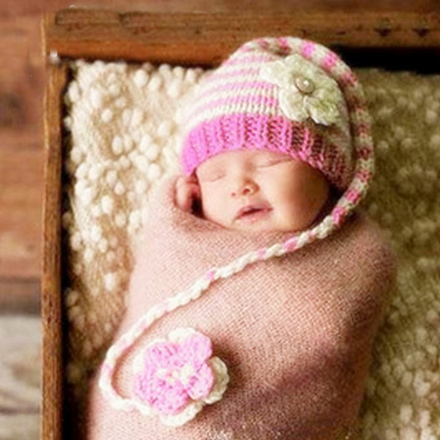 33b922606 Flower Girls Baby hat crochet handmade photography props