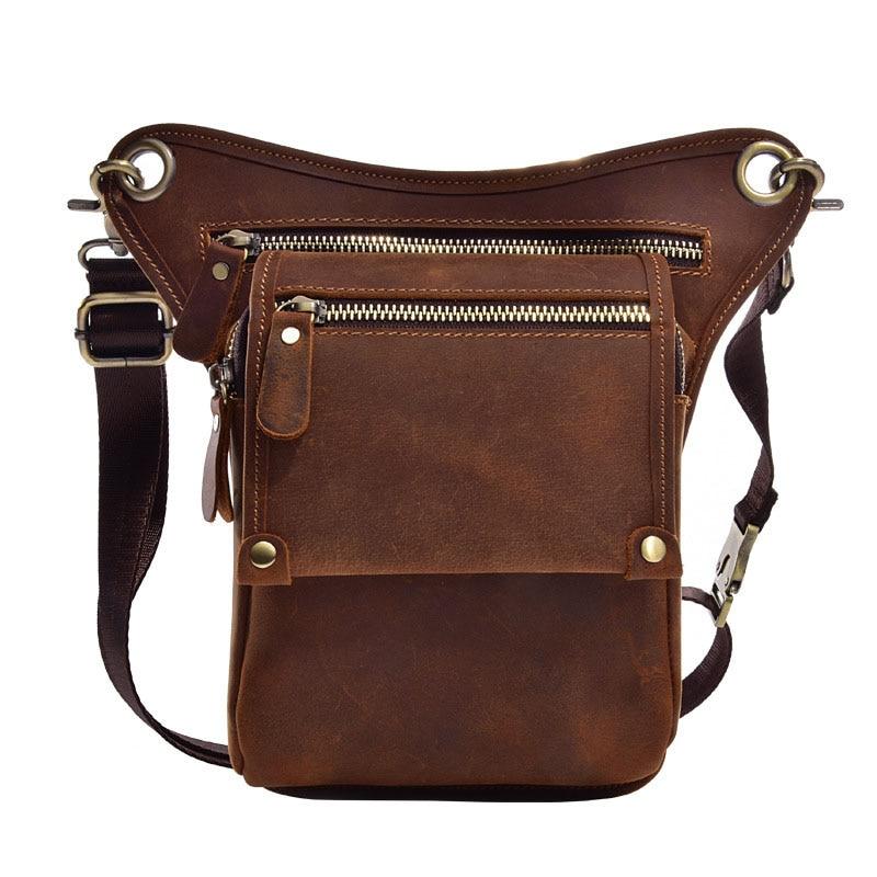 Real Leather Multifunction Men One Shoulder Crossbody Messenger Bag Hook Waist Pack Phone Cigarette Case Drop Leg Bag one shoulder flounce wide leg jumpsuit