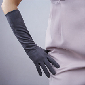 Image 4 - 40cm Suede Leather Gloves Medium And Long Section Emulation Leather Female Models Forest Green Ink Green Dark Green Suede WJP01