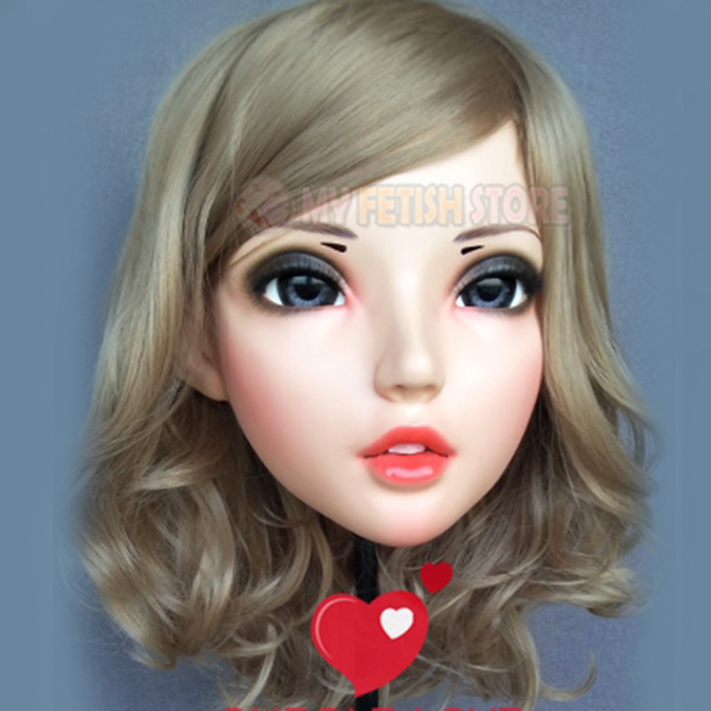 female Sweet Girl Resin Half Head Kigurumi Bjd Mask Cosplay Japanese Anime Role Lolita Lifelike Real Mask Crossdress Doll dm004 Reliable