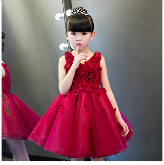 New Arrival Flower Princess Dress Baptsim Rose Party Wedding Birthday Gown Kids Tutu For