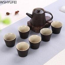 Керамический чайник плоский чайник Набор чайный набор кунг-фу черный чай WSHYUFEI Питьевая утварь домашний подарочный набор дропшиппинг