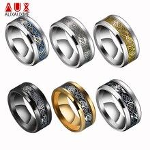 Auxauxme 6 colores Vintage oro dragón Acero inoxidable anillo para hombre joyería para hombre señor 8mm anillos de boda Punk masculino anillo para amantes