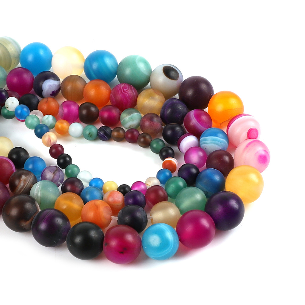 Разноцветные шарики из натурального камня 4/6/8/10 мм, в полоску, с полосками, свободные шарики для изготовления ювелирных изделий и ожерелий