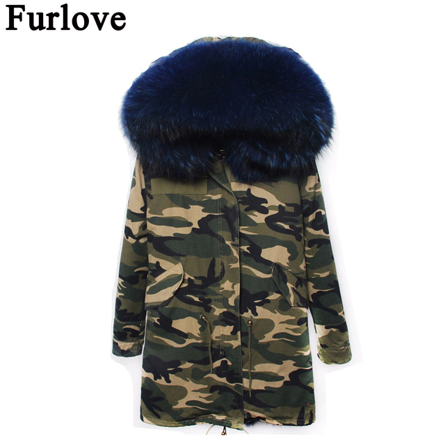 Furlove women winter camo parka large raccoon fur collar hooded coat outwear 2 in 1 detachable lining winter jacket brand style 2017 winter new clothes to overcome the coat of women in the long reed rabbit hair fur fur coat fox raccoon fur collar