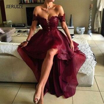 JIERUIZE Burgundy Organza Hi low Evening Dresses 2018 Off the Shoulder Front Short Long Back Party Dresses Formal Dresses