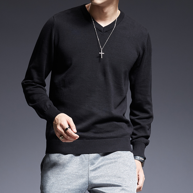 2019 New Fashion Brand Sweater For Mens Pullovers V-neck Slim Fit Jumpers Knit Thick Autumn Korean Style Casual Clothing Men