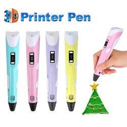 Conjunto de caneta impressora 3d, conjunto de caneta para impressão 3d, presente de natal, com 3 cores, abs, filamento, artes, impressora led para criança