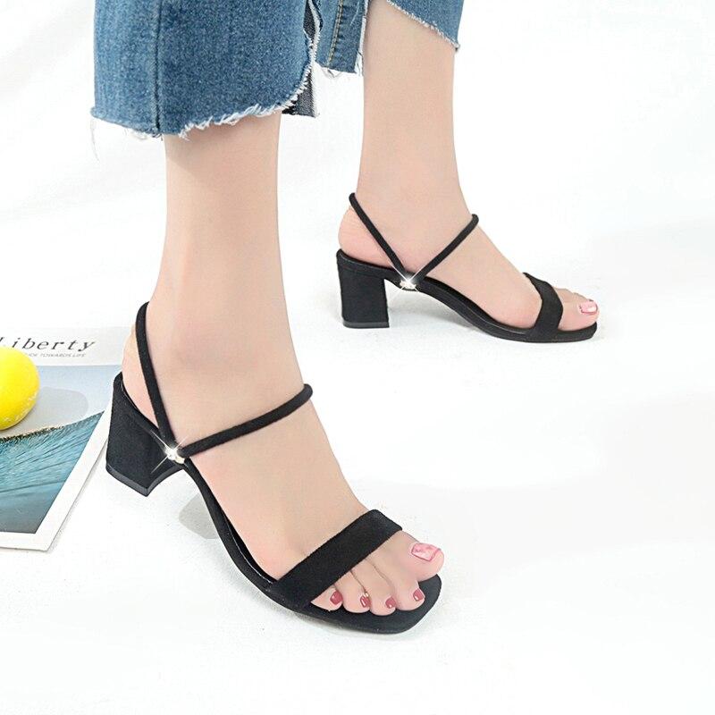 Korean Style Women Sandals 2018 Summer Open Toe Flip Flops Womens Sandles Square Heel Women Shoes Flip Flop Gladiator Shoes