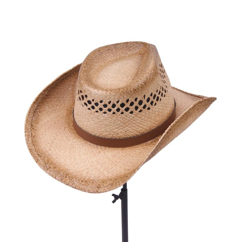 Feliz Sol hombres día Cowboys paja sombreros para hombre occidental rafia  paja sombrero nuevas mujeres vaqueras verano Sol tapas al por mayor 6  unids lote ... cf38a30dc30