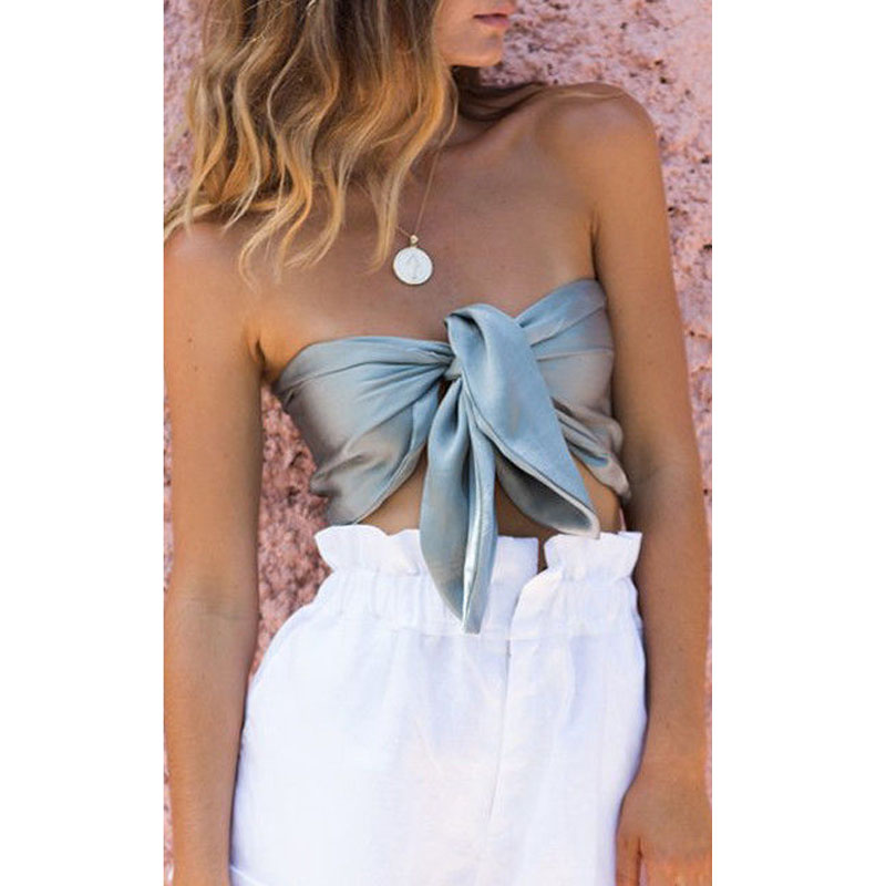 Women Ladies Off Shoulder Tube Tops Sleeveless Backless Crop Top Summer Beach Solid  Knot Wrap Mujer Bustier Strapless Tops