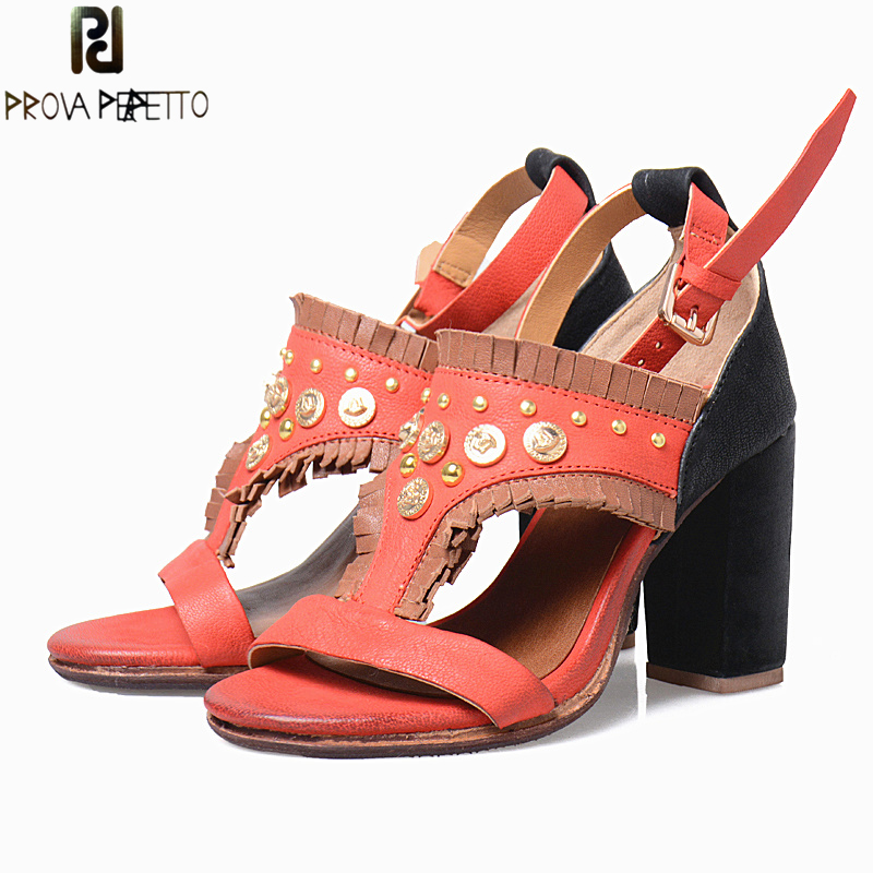 Prova Perfetto Bohemian Gladiator Sandal Women Mixed Color Ankle Strap Ethnic Summer Sandal Rivets Studded High Heel Shoes Woman  summer newest woman sandal thin heels high heel shoes 2017 solid red leather ankle buckle strap sandals rivets studded shoes