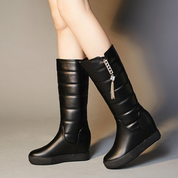 Bottes En Cuir Hiver Neige Chaussures Cachemire Augmenté Femme Loisirs Chaud Blanc Avec Épaissie 2 De 1 Femmes 6gIfy7Ymbv