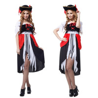 Woman Halloween Pirates Costumes corsair Cosplay Maid Role play Carnival Christmas Festival parade Rave party Nightclub dress