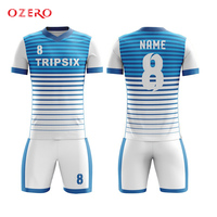 personalised custom dye sublimation polyester blank blue soccer polo jersey shirt
