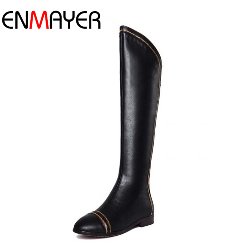 ФОТО ENMAYER new over knee high boots flats shoes winter fashion sexy warm women genuine leather boots ladies Motorcycle boots BIG